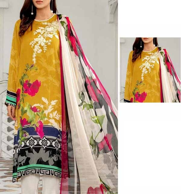 New Neck Lawn Full Embroidered Dress with Chiffon Dupatta  (DRL-891)
