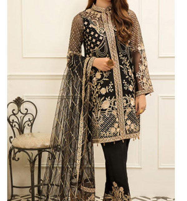 New Organza Fully Heavy Embroidered Suit With Net Embroidered Dupatta (Unstitched) (CHI-291)
