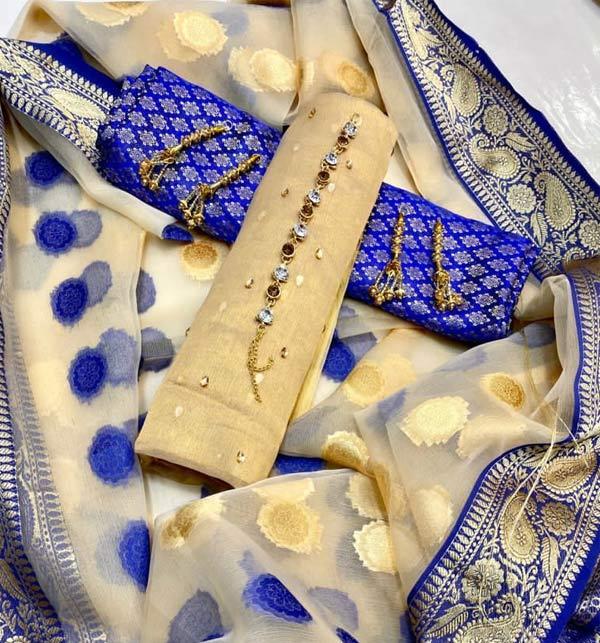 Masoori Jaquard Stone Work Suit With Organza Dupatta Jamawar Trouser (Unstitched) (DRL-959)