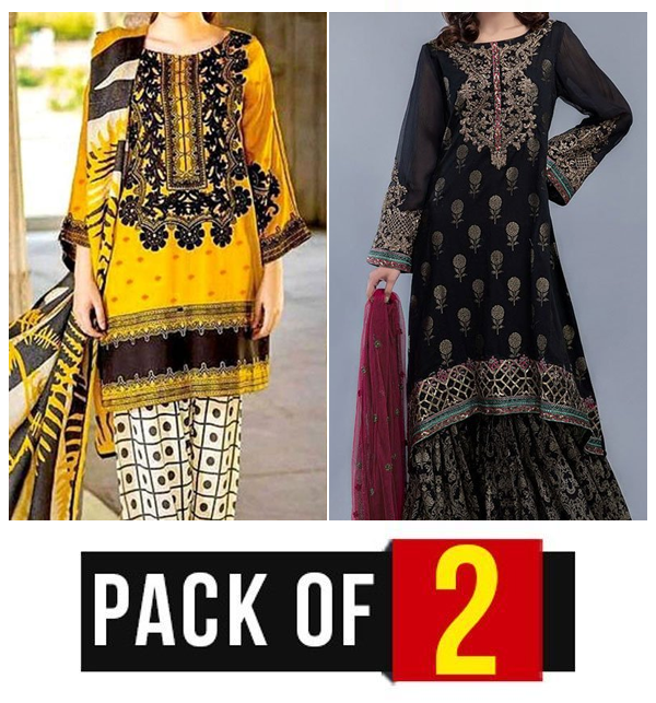 New Pack of 2 - Embroidered Lawn Dress 2020 with Chiffon Dupatta UnStitched (DRL-422) & (DRL-474)