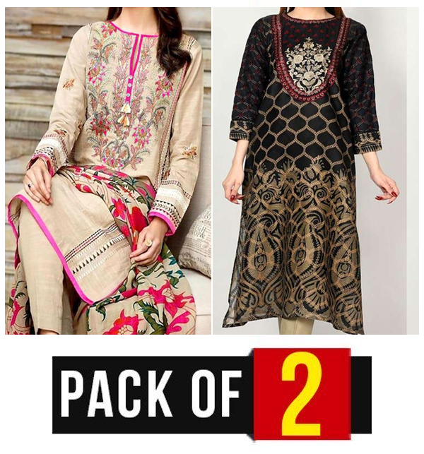 Pack OF 2 Winter Sale Khaddar + Linen Heavy Full Embroidered Dress 2021 UnStitched (LN-167) & (KD-92)