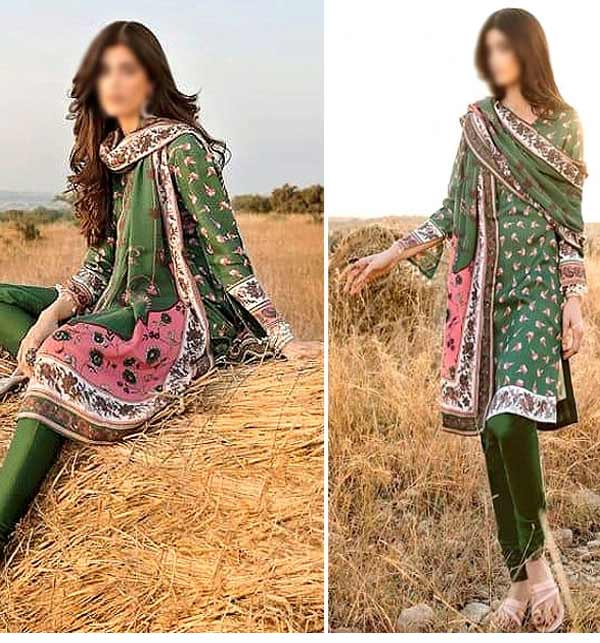 Khaddar Printed Suit with Pashmina Shawl(Unsitched) (KD-137)