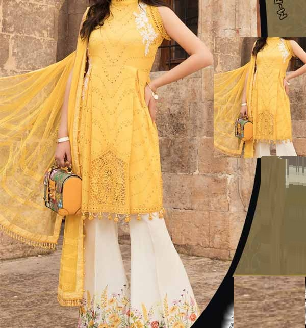Luxury Lawn Collection Neck Embroidery with Chiffon Printed Duppata (DRL-857)