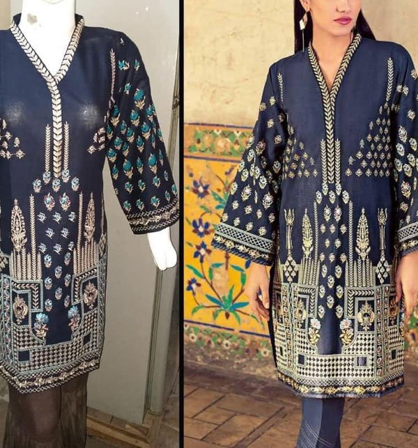Full Front Heavy Embroidered Kurti (Stitched)