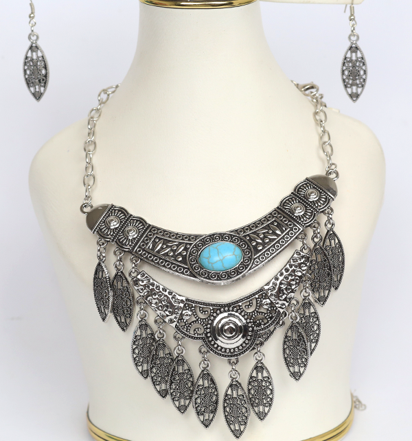 Stylish Antique Turkish Designs Necklace With Earring Set (PS-178)