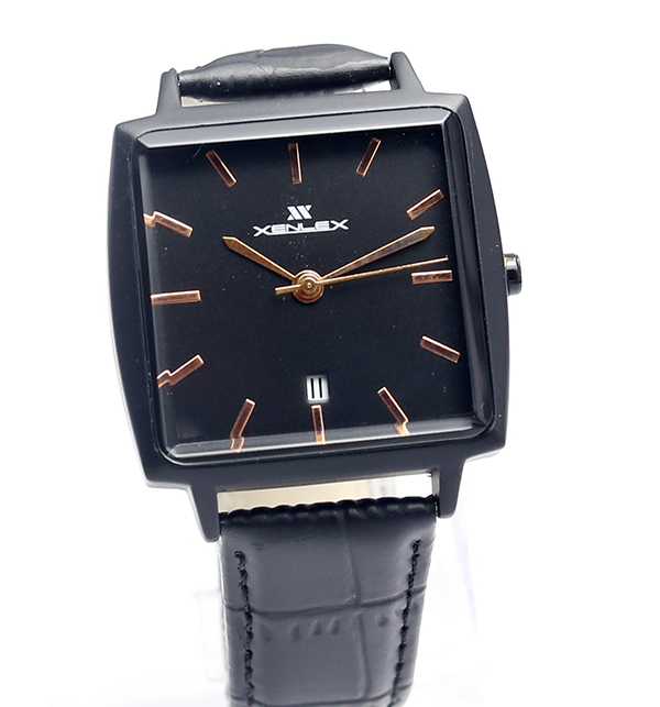 Original Xenlex Black Leather Straps Watch (CW-105)