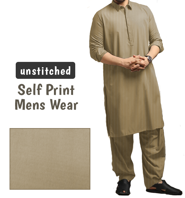 Mens High Quality Wash Wear Self Printed Shalwar Kameez Unstitched (SELF-3)