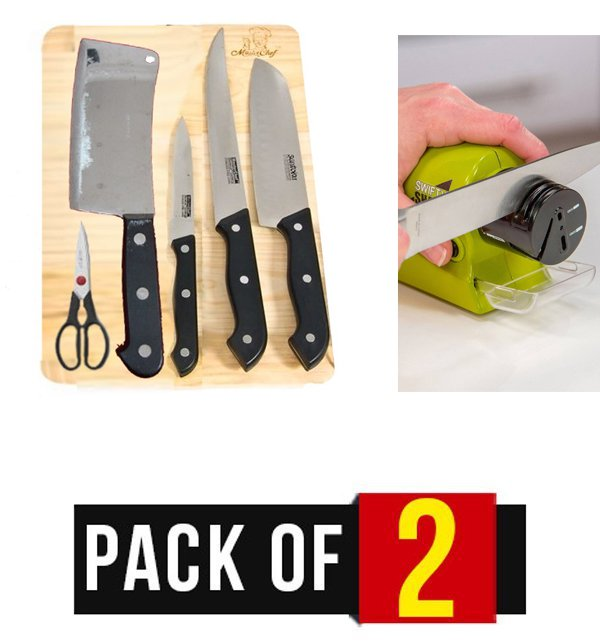Pack of 2, 7 Pieces Stainless Knives Set (KS-08) & Motorized Knife Sharpener