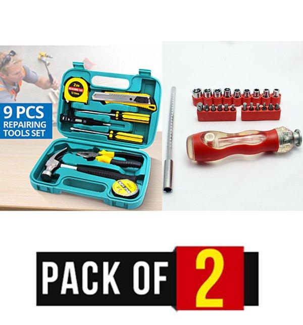 Pack of 2 - 9 Pcs Repairing Tools Set & Screw Driver Combination Tools Kit (24 Pieces)