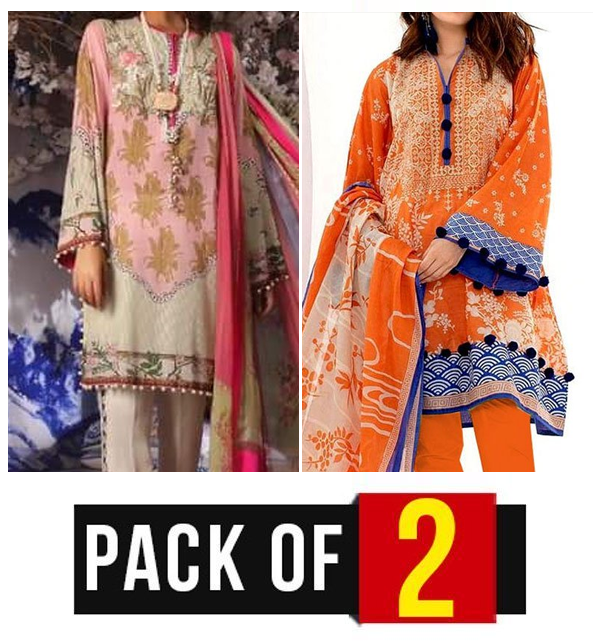 Pack OF 2 - Designer Lawn Embroidered Dress With Chiffon Dupatta (DRL-346) & (DRL-324)