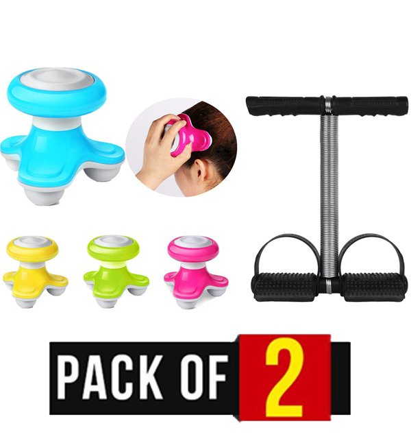 Pack of 2 - Electric Hand Body Massager & Tummy Trimmer Single Spring