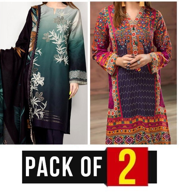 Pack OF 2 Embroidered Lawn Suit with Lawn Dupatta (DRL-619) & (DRL-418)