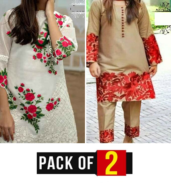 Pack Of 2 Full Heavy Embroidery 2 Pec Lawn Dresses Embroidered Trouser (DRL-665) & (DRL-632)