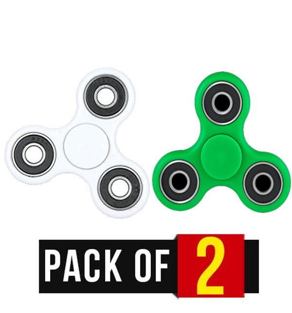 Pack of 2 Fidget Spinner Stress Reducer Toy - Three Sided