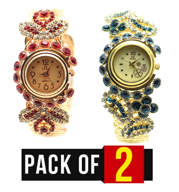 20211b35744 Pack of 2 - Women s Stones Wrist Watches (CW-58)   (CW-59)