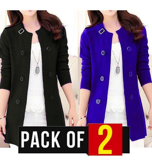 Pack of 2 - Korean Style Ladies Fleece Coats Black & Blue