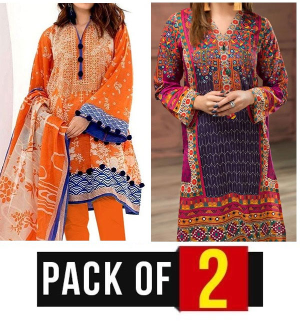 AZADI DEAL Pack OF 2 - Lawn Embroidered Suit With Chiffon Dupatta (DRL-324) & (DRL-418)