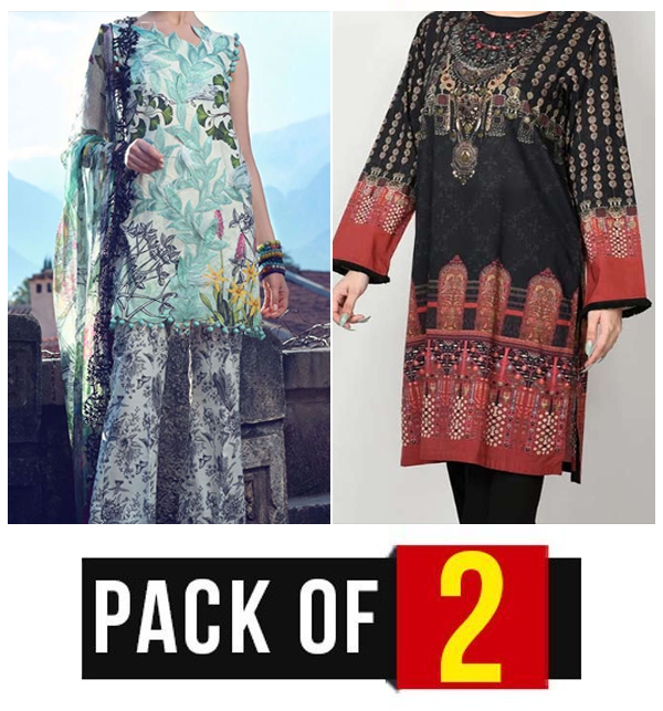 Pack OF 2 Linen Embroidered Dress 2021 With Wool Shawl  (Unstitched) (LN-150) & (LN-180)