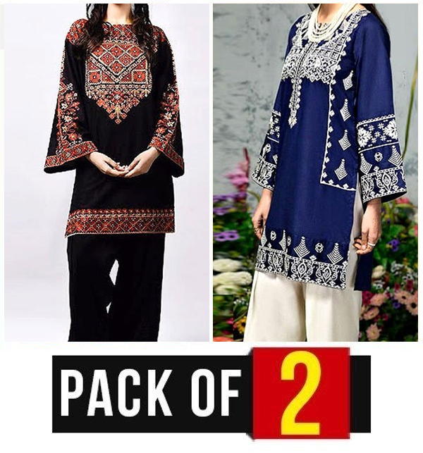 Pack of 2 Linen Embroidery 2-Pcs Suit  (Unsitched) (LN-134) & (LN-135)