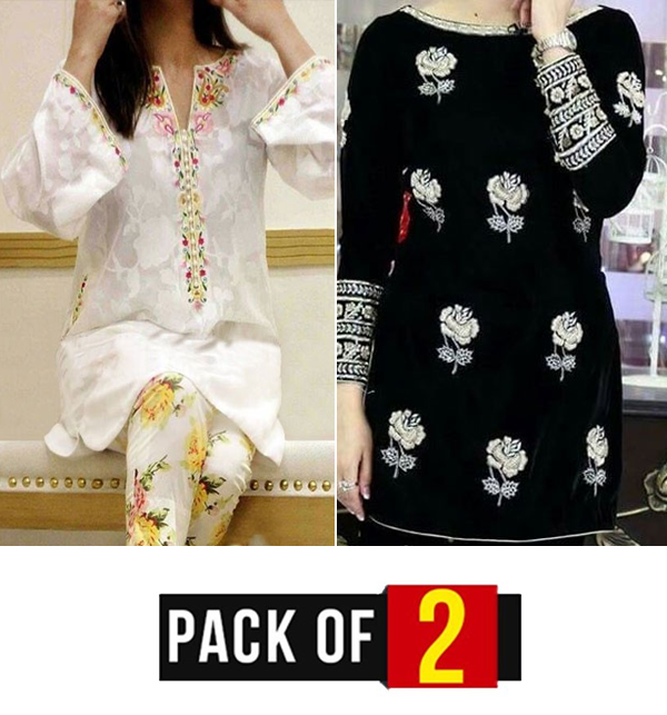 Pack OF 2 - Linen Heavy Embroidery Suit With Embroidery Trouser (Unstitched) (LN-149) &  (LN-148)