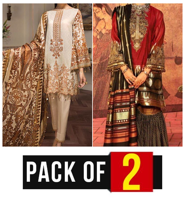 Pack OF 2 - New Embroidered Lawn Suits with Chiffon Dupatta (Unstitched) (DRL-425) & (DRL-456)