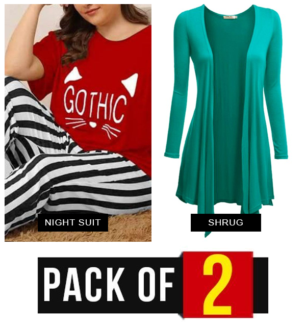 Pack OF 2 Red Night Dress + Green Shrug