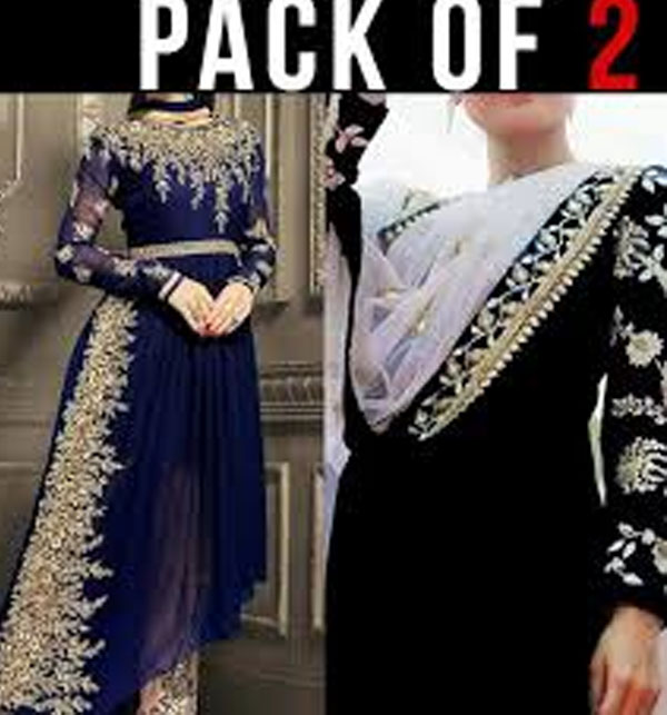 Pack of 2 Pakistani Chiffon Suit Embroidered in Royal Blue & Embroidered Chiffon Black Suit Unstitched (CHI-33) & (CHI-35)