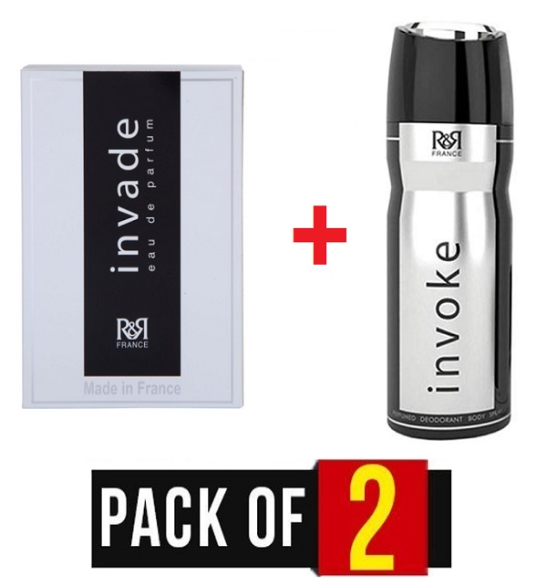 PACK OF 2 Orignal R&R Perfumes Invade & Body Spray 200Ml