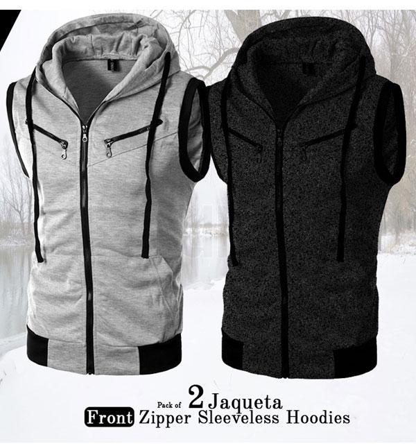 Pack of 2 - Sleeveless Zipper Hoodies Jaqueta Front