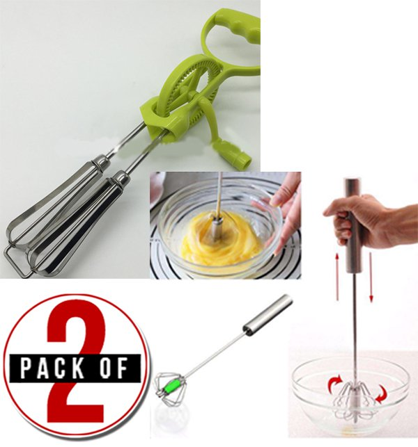 Pack of 2 Stainless Steel Hand Push Beater & Manual Double Beater