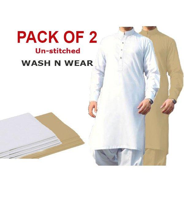 71c2da61dc Pack of 2 Wash n Wear Men's Shalwar Kameez Unstitched (MSK-10) & (MSK-21)  Online Shopping & Price in Pakistan