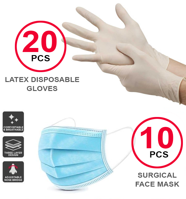 Pack of (20 Disposable Gloves & 10 Surgical Face Masks)