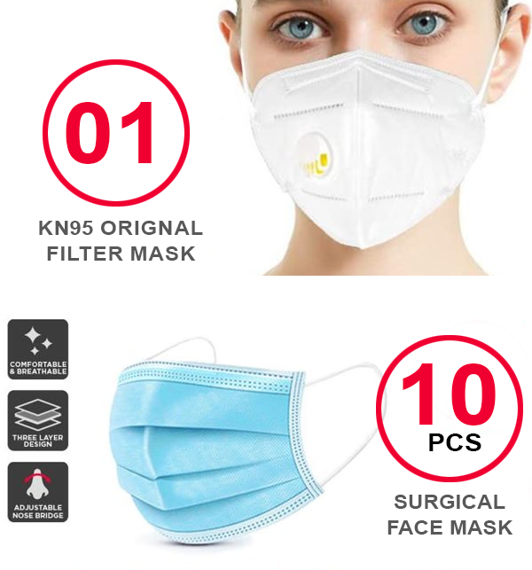 Pack OF (10 Surgical Face Masks + 1 KN-95 Filter Mask)