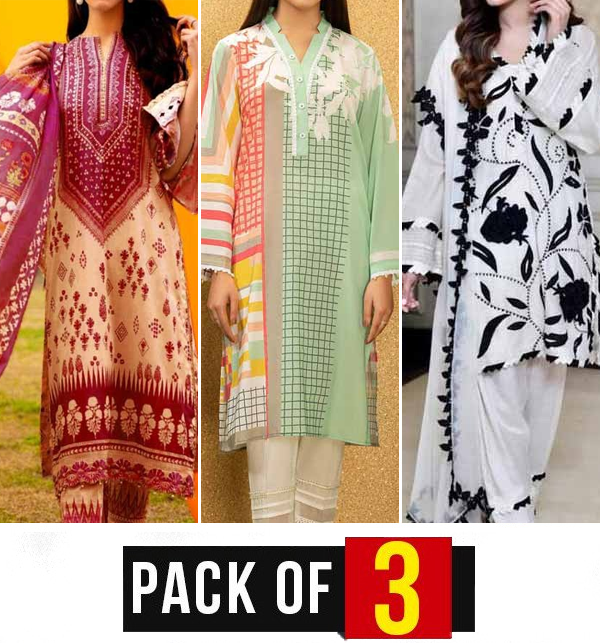 EID SALE Pack of 3 Embroidered Lawn Suits Wholesale (DRL-808),  (DRL-751) & (DRL-913)