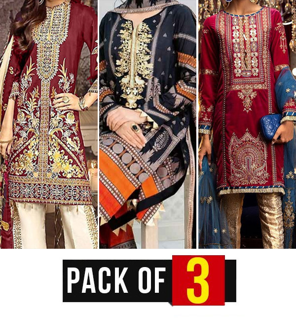 Pack of 3 Embroidered Pakistani Lawn Suits Wholesale (DRL-571) (DRL-658) & (DRL-564)