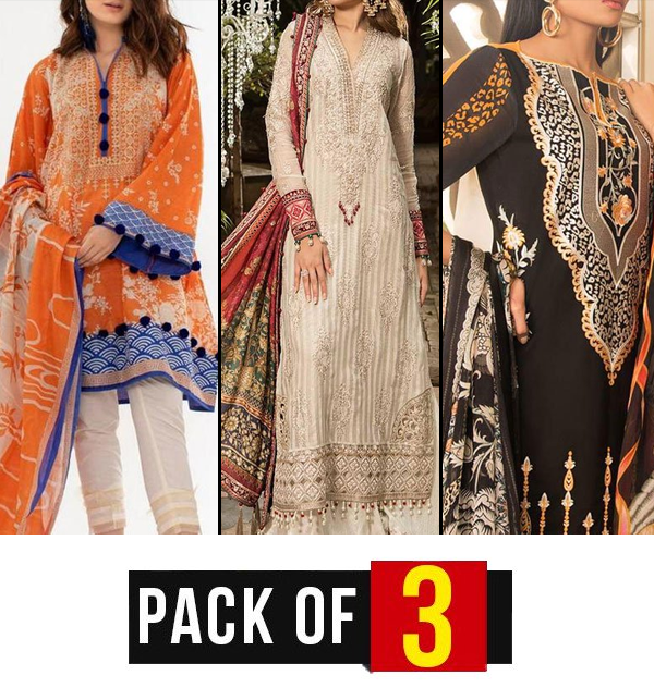 Pack of 3 Embroidery Lawn Embroidered Suit With Chiffon Dupatta (DRL-324,400,387) (Unstitched)