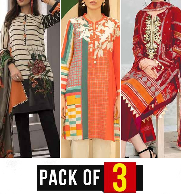 Pack OF 3 Hit Embroidery Lawn 3 Pec Dress With Chiffon Dupatta (DRL-884), (DRL-752) & (DRL-681)