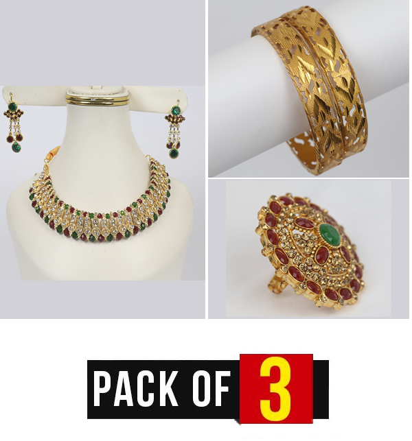 Pack OF 3 Deal Necklace With Earring, Bangles & Ring (PS-232), (BH-40) &  (RH-11)