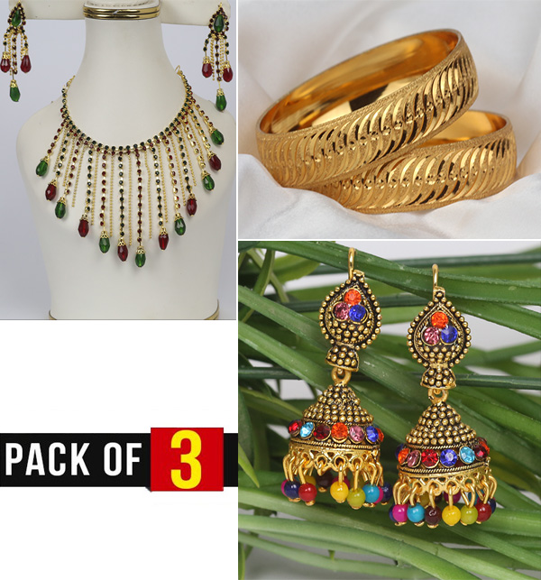 EID Gift Pack of 3 Necklace With Earring Bangles & Jhumka