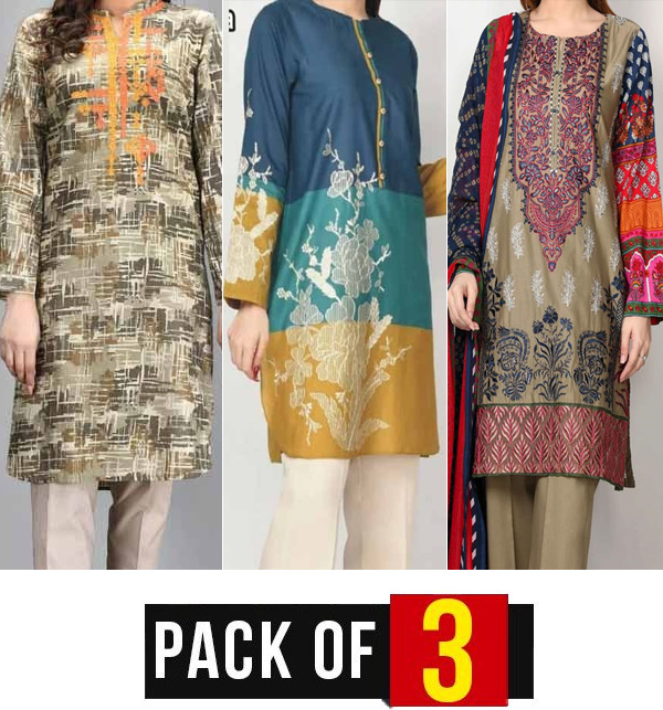 EID Package Pack of 3 - Lawn Embroidered Suit With Chiffon Dupatta (DRL-631), (DRL-781) & (DRL-690)