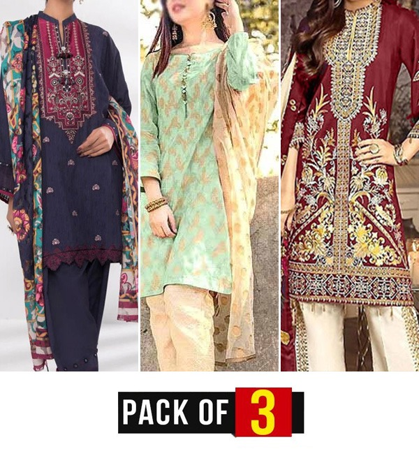 EID SALE Pack of 3 Embroidered Pakistani Lawn Suits Wholesale (DRL-559) (DRL-571) & (DRL-728)