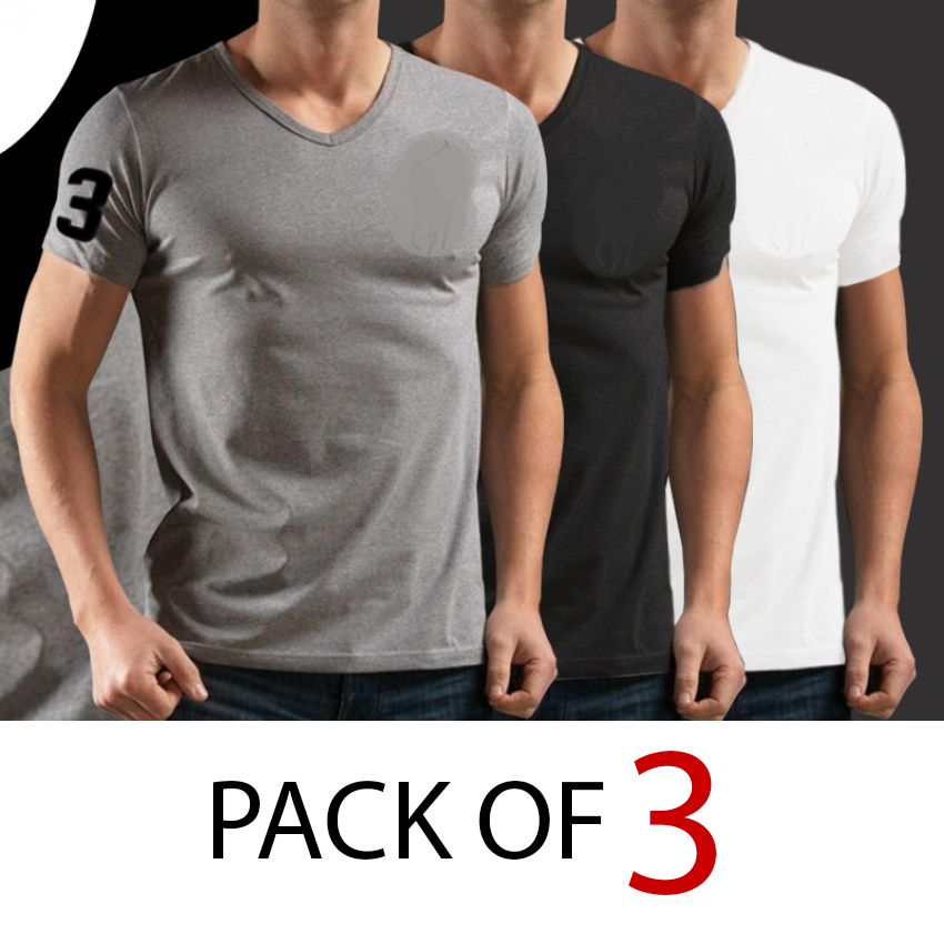 8f460e599 Pack of 3 Men's V-Neck Half Sleeve T-Shirts (DT-12) Online Shopping & Price  in Pakistan