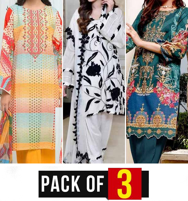 Pack of 3 Pakistani Embroidered Lawn Suits Wholesale (DRL-896), (DRL-775) & (DRL-808)