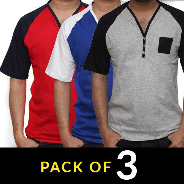8d0c2bcbd Pack of 3 Summer Men s Y-Neck T-shirts (DT-02)