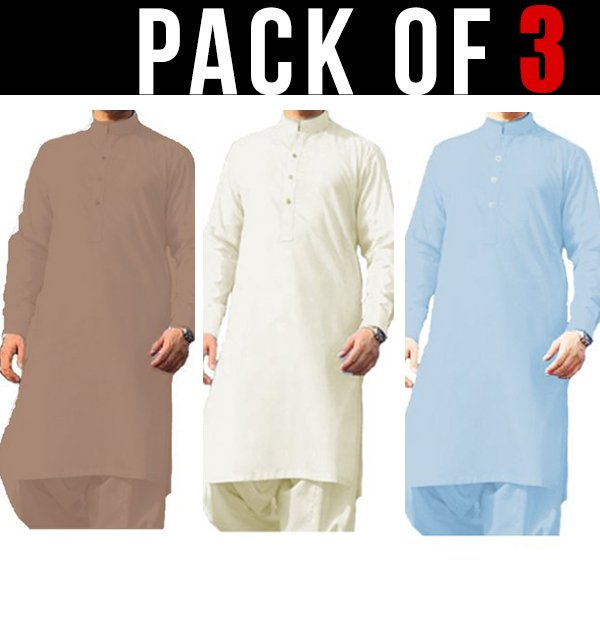 Pack of 3 - Best Quilty Wash n Wear Men's Kameez Shalwar Unstitched (MSK-35), (MSK-25) & (MSK-24)