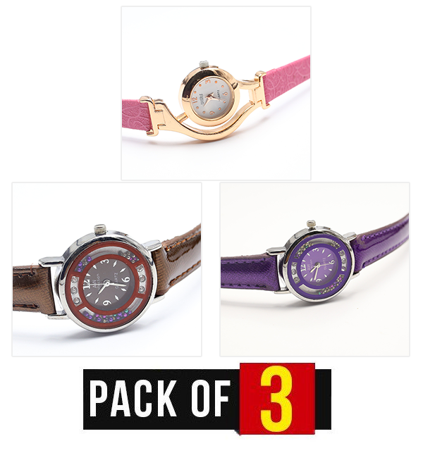 Pack of 3 - Women's Wrist Watches (CW-111, CW-112 & CW-113)
