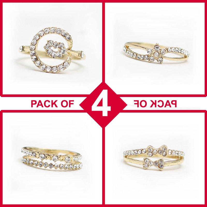 Pack of 4 Rings - Gold & Diamond Style (RH-08)