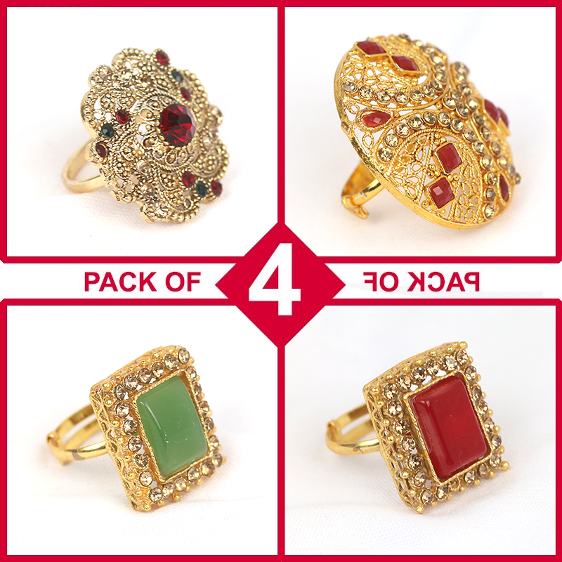 Pack of 4 Stylish New Ring For Women (Ring Deal-01)