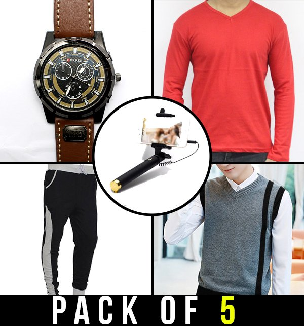 Pack of 5 - Wrist Watch, T-Shirt, Sweater, Sweatpant & Selfie Stick
