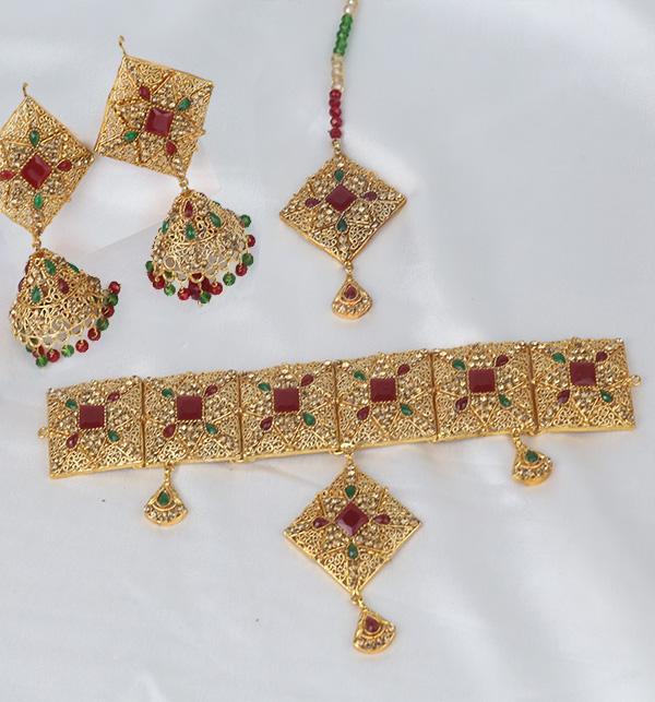 Chocker Jewelry Set With Jhumka Matha Patti Design 2021 For Women (PS-351)